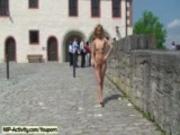 Hot blonde shows her slim body in public