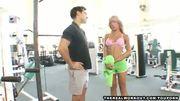Busty blonde babe fucks her trainer