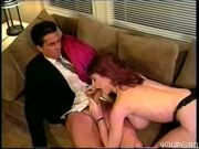 Horney girl with big tits makes him cum