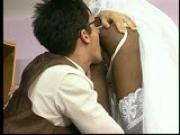 Wedding dress designer kisses and licks the bride