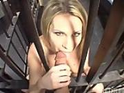 Hot blondie fucks the prison guardian