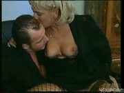 Mature blonde gets a young load - DBM Video