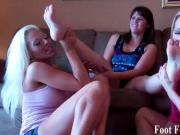 Ashley sucking Cherrys French pedicured toes
