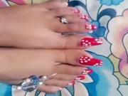 Long red sharp nails toenais of gf