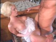 Stunning blonde with big tits and shaved pussy deep throats dick before anal