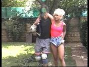 Hip blonde is fucked by jock in backyard on lounge chair
