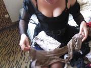 girl chooses stockings