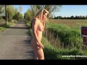 Flashing naked on the road