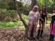 Horny femdoms fuck and spit roast blonde sissy slut in woods