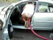clean the car white panties 2