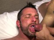 Hairy hunk fucked and fed