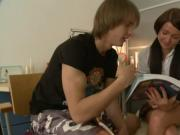 cute russian pair has enough from learning english