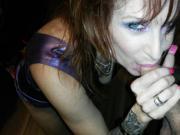 Sable Bordeaux latex long nails blowjob