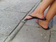 Candid feet in flip flops