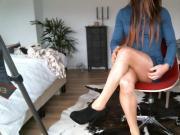 shiny pantyhose, heels, denim mini dress showing my cock