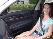 Redhead teen Sadie Leigh loves sex action in the car
