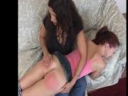 Redhead petite spanked strpped and paddled by older lady
