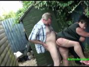 Granny Kim behind the potting shed