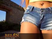 Sexy cameltoe in denim shorts