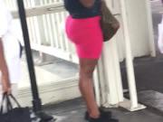 Ugly bih with a fat ass in pink dress side view