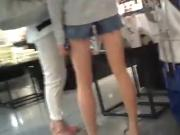 Beautiful leg beauty of shadowed denim short pants