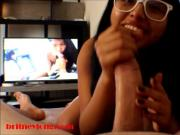 Britney Long watchs Heather Deeps porn and gives deepthroat