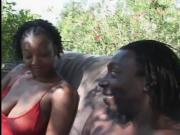 Nice ebony gets fucked in the garden.