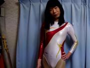 crossdress in metallickwhite leotard