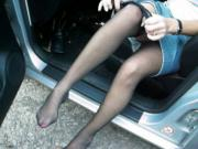 stockings out in the car