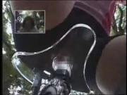 Dildo Bicycle Seat Ride in a Public Park Two Asian Teens