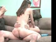 She rides him and makes him climax