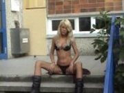 Gorgeous Blond Masturbates Outdoor