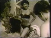 Vintage women playing around outdoors