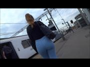 Big booty brunette in tight jeans
