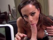 Sexy brunette Abigail blows a fan POV style
