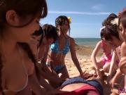 Japanese beach gangbang with squirting cuties