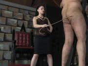 Sexy Mistress caning male slave