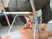 Footjob Under The Chair
