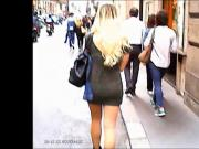 Hot Ass Of Blonde In Miniskirt