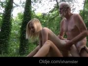 Lumberjack huge old dick messing two young girls in the wood
