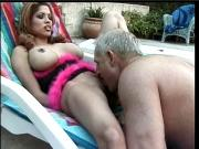 Brunette bends over and sucks on guys big cock outdoors