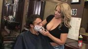 Big titted barber girl doesn't cut hair only