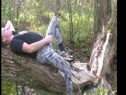 handjob in camo leggings.