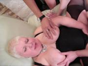 Fat MILF getting fucked by 5 young guys
