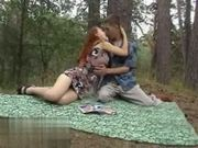 Redheads Blowjob in the Woods with cum - Blasen im Wald