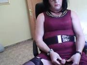 tranny cd crossdresser wanking cumshot