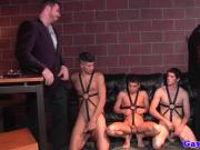 Classy bondage hunks in group cum over their subs
