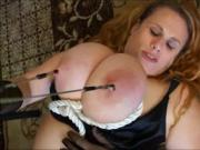 Huge tits in big thick rope ouch!!