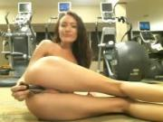 Girl totaly caught for toying at gym