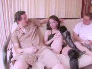 Fake Casting for Young Skinny Teen with 2 Big Dick Guys